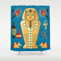 tomb raider Shower Curtains featuring Egyptian Mummy Tomb by John Clark IV