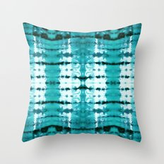 Aqua Satin Shibori Throw Pillow