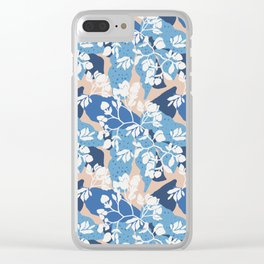 Blue layered floral on a taupe base Clear iPhone Case