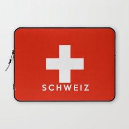 Switzerland country flag Schweiz name text Laptop Sleeve
