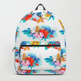 Tropical aqua yellow red orange summer floral leaves Backpack