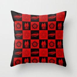 SPN Hunter Checkers Throw Pillow