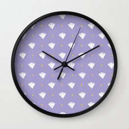 Diamonds - purple pattern Wall Clock
