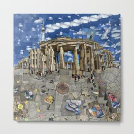 Brandenburg Gate - Photomontage Collage Metal Print