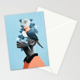 Girl with parrot Stationery Cards