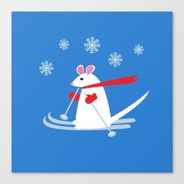 Christmas Mouse on Skis Canvas Print