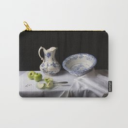 Delft blue and green apples still life Carry-All Pouch