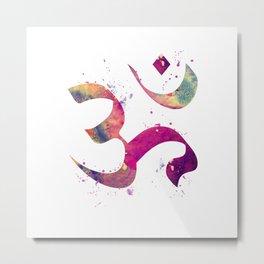 Om Art Colorful Purple Watercolor Gift Aum Symbol Peace Art Spiritual Symbol Metal Print
