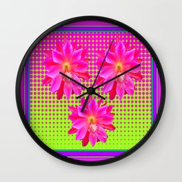 Optical Art Fuchsia, Chartreuse Pink Cactus Flowers Pattern Wall Clock