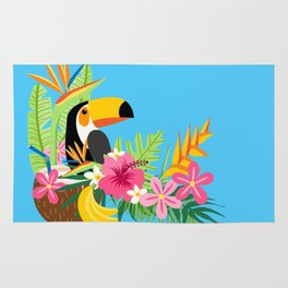 Tropical Toucan Island Coconut Flowers Fruit Blue Background Rug