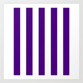 Indigo violet - solid color - white vertical lines pattern Art Print