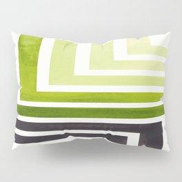 Sap Green Minimalist Inca Geometric Mid Century Modern Watercolor Pattern Maze Pillow Sham