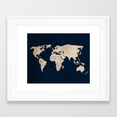 Inverted Rustic World Map Framed Art Print
