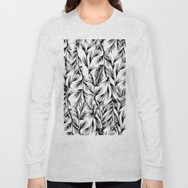 Tropical black white floral leaves pattern Long Sleeve T-shirt