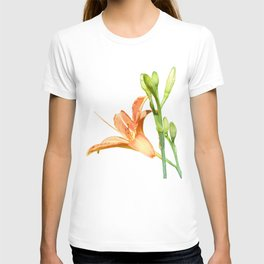 daylily on white T-shirt
