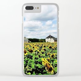 New England Sunflower fields and barns by Jéanpaul Ferro Clear iPhone Case