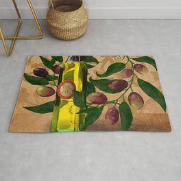 Olives and Italian Olive Oil Rug