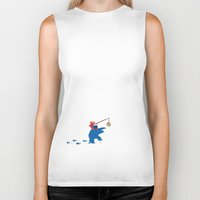 elmo Biker Tanks featuring Cookie Monster Donkey - Lower Shirt Placement by OneWeirdDude