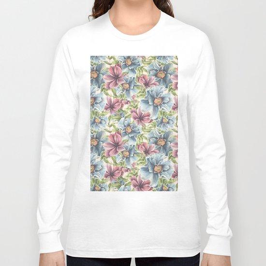 Hibiscus Vintage Pattern Long Sleeve T-shirt