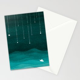 Falling stars, sailboat, teal, ocean Stationery Cards
