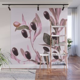 Olive tree branch with pink tones on white background Wall Mural