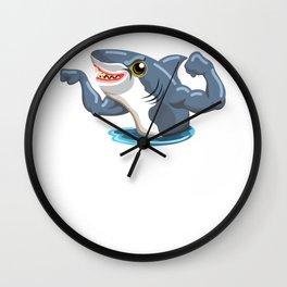 Funny Shark Cartoon Muscle Shark Wall Clock