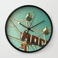 rock and roll Wall Clocks featuring Rock and Roll by Cassia Beck