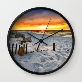 Burning Sunrise Print Sunset Landscape Fine Art Wall Clock
