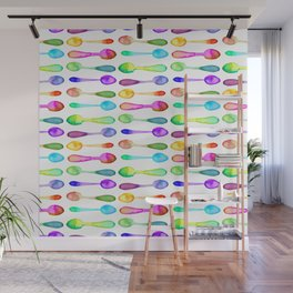 Lots of Colorful Watercolor Spoons! Wall Mural