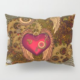 Steampunk, heart with wings Pillow Sham