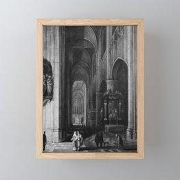 Interior of a Gothic Church at Night Framed Mini Art Print