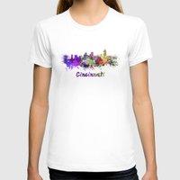 cincinnati T-shirts featuring Cincinnati skyline in watercolor by Paulrommer