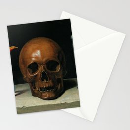 Life, Death, & Time; still life portrait painting with a Skull and Tulip by Philippe de Champaigne Stationery Cards