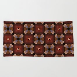 Red Square and White Circle Pattern Beach Towel