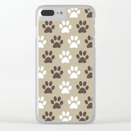 Animal Paw Print Pattern Brown Clear iPhone Case