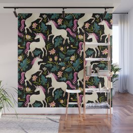 Dancing Unicorns In The Garden Fantasy Tapestry Pattern Wall Mural