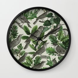 Botanical Birds in Branches Digital Collage of Vintage Elements Wall Clock