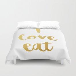 I love eat Golden Version Duvet Cover