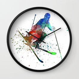 woman skier freestyler jumping Wall Clock