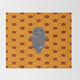 Little Seal Playing in a Bowl of Spaghetti Throw Blanket