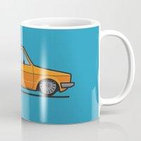 volkswagen Mugs featuring #19 Volkswagen Golf by Brownjames Prints