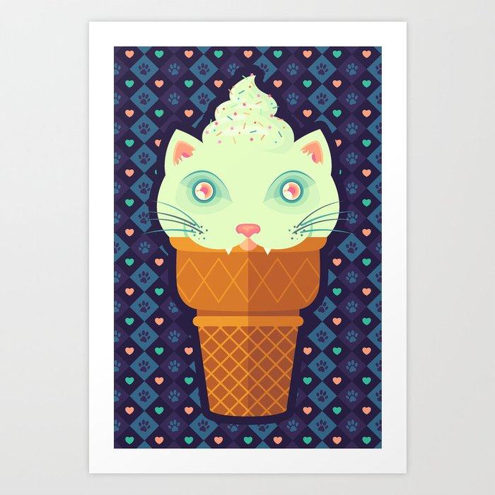 Strawberry-Mint Cat Art Print