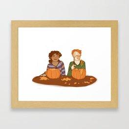 Pumpkin Caving Framed Art Print