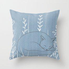 Sleepy Cat - Botanical Blue Throw Pillow