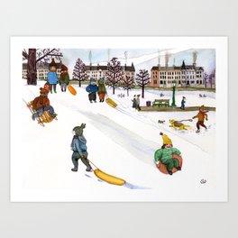 Sledding in Prospect Park Art Print