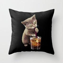 CAT LOVES SODA Throw Pillow