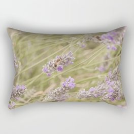 A bee on the lavender #2 Rectangular Pillow