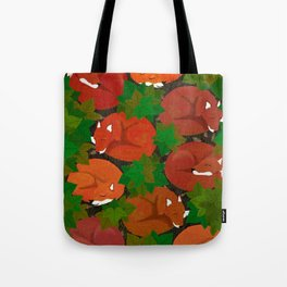 Sleepy foxes and Grapevine leaves Tote Bag