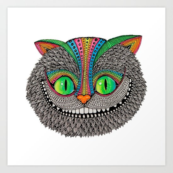 Alice´s cheshire cat by Luna Portnoi Art Print