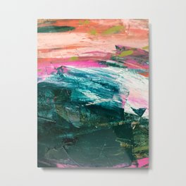 Meditate [4]: a vibrant, colorful abstract piece in bright green, teal, pink, orange, and white Metal Print